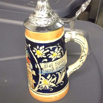 Authentic Ceramic German Beer Stein Fantastic Condition West Germany Beer Glass Fathers Day Gift Idea
