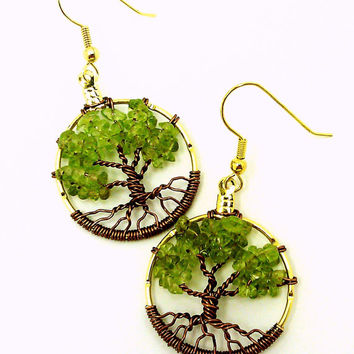 Birthstone Tree of Life Earrings Made To Order