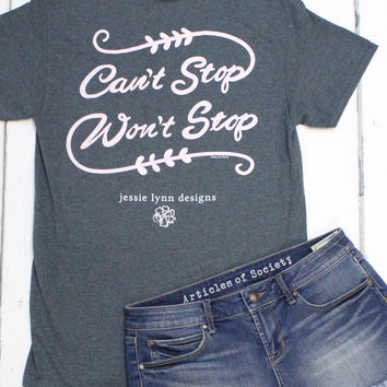 Can't Stop, Won't Stop Tee {Dark Heather Grey}