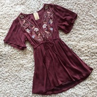 ONETOW Embroidered Bodice Dress in Plum Day-First?