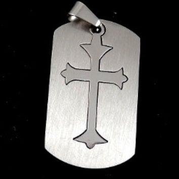 Stainless Steel Cross Dog Tag Necklace