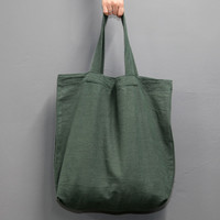 Page25 Natural and Pure linen eco large tote bag - Khaki