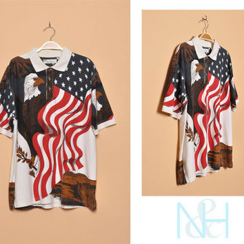 Vintage 1990s Unisex Polo with American Flag and Eagle Print