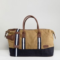 River Island Canvas Holdall In Stone at asos.com