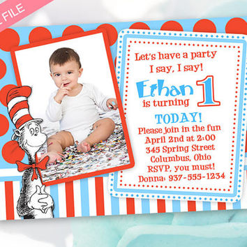 Dr. Suess Birthday Invitation - Cat In The Hat Invitation - Digital File ONLY
