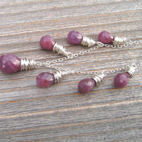 Pink and Purple Sapphire Necklace, Natural Gemstone, Sterling Silver, September Birthstone Jewelry, African Sapphire Briolettes