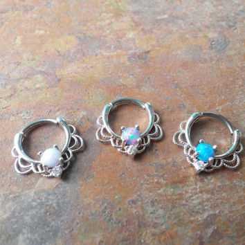 16G, 16 gauge Silver Septum Opal Rings, Piercing Gem Nose Ring Silver Septum Piercing Tribal Septum Ring Daith Hoop