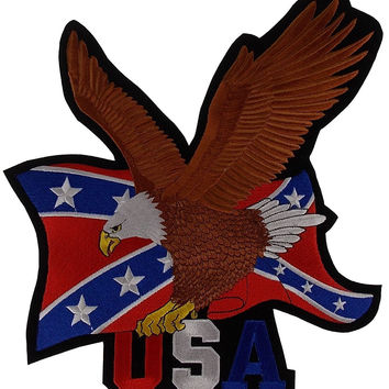 Rebel Confederate Flag Eagle Patch USA Embroidered Rider Jacket Vest Motorcycle