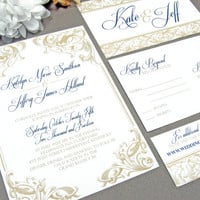 Royal Victorian Scroll Wedding Invitation Set by RunkPock Designs : Modern Script Calligraphy Swirl Design shown in Purple and Gold