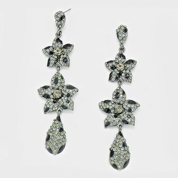 Double Crystal Rhinestone Pave Flower Dangle Earrings