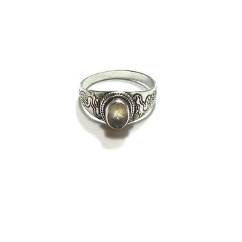 Citrine Ring  ,  Sterling Silver Citrine Ring  ,  Size  8.5   ,  Genuine  Citrine  Ring