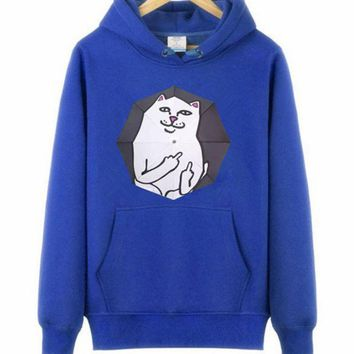 PEAPDQ7 Trendy  Supreme Unisex Cat Meow Hoodies Sweater