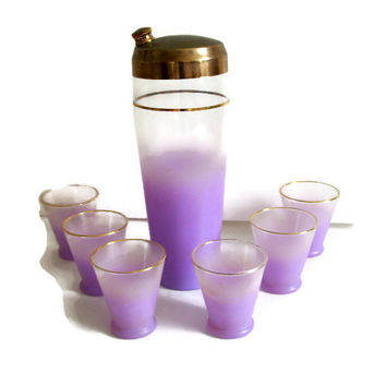 Mid Century Blendo, Cocktail Shaker, Six Glasses, Lavender Purple Ombre, Gold Trim, Retro Barware, Home Decor