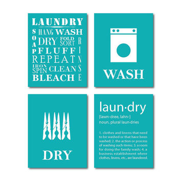 Laundry Room Art - Wall Art Quad - 8 x 10 - Laundry Symbols - Laundry Definition - Typography - Your choice of background color