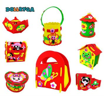 DIY Applique Storage Box  Kids Children Handmade Non-woven Cloth Cartoon Animal Flower Bag Art Craft Gift Piggy Bank 1 PCS