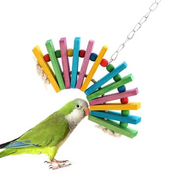 2017 Pet Bird Cages Chewing Playing Toys Parrot Cockatiel Parakeet Colorful Wooden Blocks hanging Toys