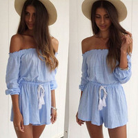 Off-the-Shoulder Pleated Ruffles Drawstring Waist Romper