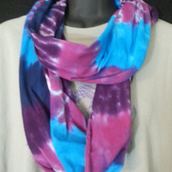 Hand Dyed tie dye Circle Scarf in Light Jersey
