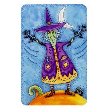 Colorful Halloween Magnet with Witch in Purple