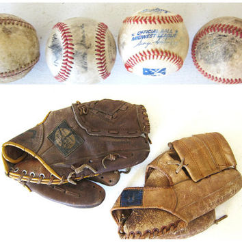 CIJ 25% OFF SALE Vintage leather Ball gloves / baseball or softball gloves with balls
