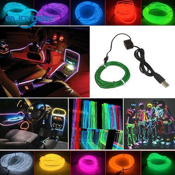 Waterproof 3M Flexible EL Wire Rope Tube Flexible USB LED Neon Light for Dance Party Car Shoes Clothing W/ USB Inverter