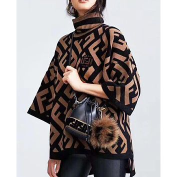 Fendi high quality new fashion more letter knit cloak sweater Brown