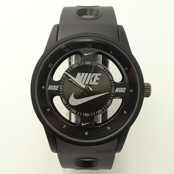 Nike Popular Ladies Men Big Logo Watch Stylish Watch Sport Movement Lovers Watch Black Black I-SBHY-WSL
