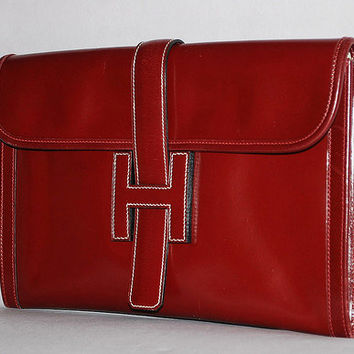 Authentic Hermes Jige Rouge H Red Box Calf Clutch Excellent