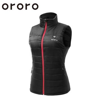 ORORO Fashion Women/Ladies Windbreaker Electric Heated Down Vest Sleevless Fleece Winter/Autumn Vest Tops Black Bodywarm Jacket