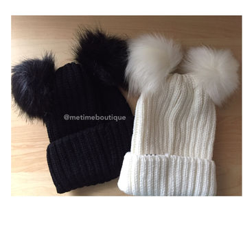 Double Pom Pom Beanie - Black or White