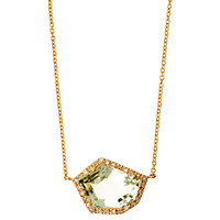 14K Green Amethyst Cubist Necklace, Pendant Necklaces