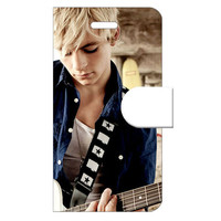 Ross Lynch R5 Apple iPhone 4 4S Woven Pattern Leather Folio Case Flip Cover