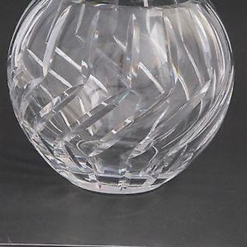 Hand Cut Glass hand  polished rose bowl / vase
