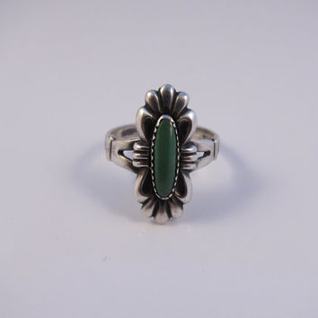 Vintage Sterling Silver Turquoise Ring, Native American Ring, Navajo Ring, Vintage Turquoise Ring Size 6