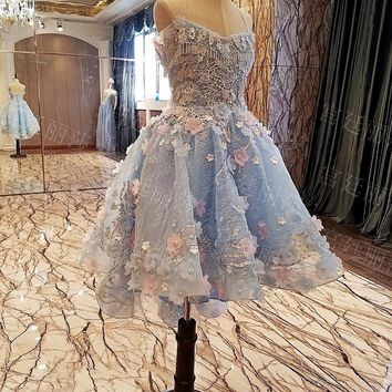 2018 Real Picture Ball Gown Homecoming Dresses Halter Handmade Flowers Appliques Mini Short Cocktail Dresses Party Gowns