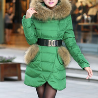 Fashion big raccoon fur collar long white duck down coat ghl3437