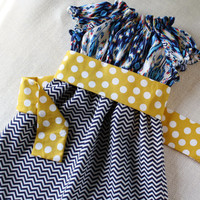 "Navy Ikat & Chevron Peasant Dress ""Betsy"" in Blue Ikat with Yellow Dot Belt - MADE TO ORDER - EtsyKids Team"
