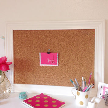 White Framed Memo Board / Bulletin / Office / Organize / Wall Decor Display