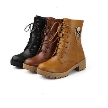 Women fashion skull street round toe lace-up ankle boots