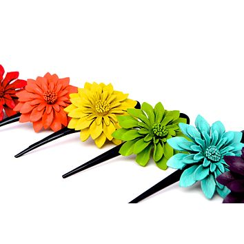Leather Flower Hair Clips - Large