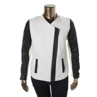 Kensie Womens Crepe Faux-Leather Jacket
