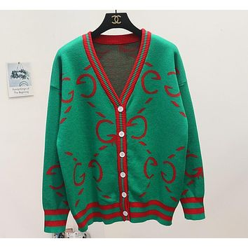 Gucci Popular Loose Autumn Winter V Collar Single Breasted Print Brief Paragraph Sweater Sweatshirt Knit Cardigan Jacket Coat Green
