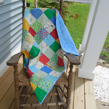 Baby Quilts, Baby Boy Crib Quilt, 32 x 42, Handmade Blue Green Cream and Yellow Quilt, Baby Talk Charm Square Collection