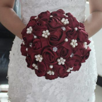 Burgundy Bridal Bouquet Satin Rose Flower Crystal Pearl Beaded Wedding Accessory Beautiful