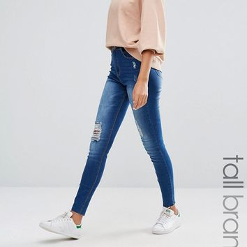 Missguided Tall Sinner Highwaisted Distressed Skinny Jean at asos.com