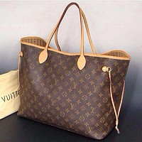 LV Clasic Fashion Women Shopping Leather Tote Handbag Shoulder Bag And Wallet Two Piece A Set