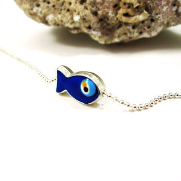 Silver Smal Cute Fish Blue Evil Eye Bracelet, Gift, Summer, Fashion, Beach