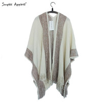 Simplee Apparel striped tassel women poncho sweaters Autumn tricot warm cape oversized Fashion knitted batwing sleeve shawl wrap