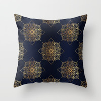 Gold and Navy Damask Throw Pillow by Tanyadraws