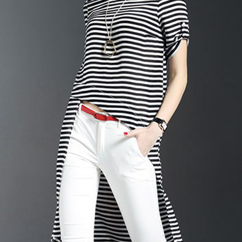 Black White Striped High Low Blouse